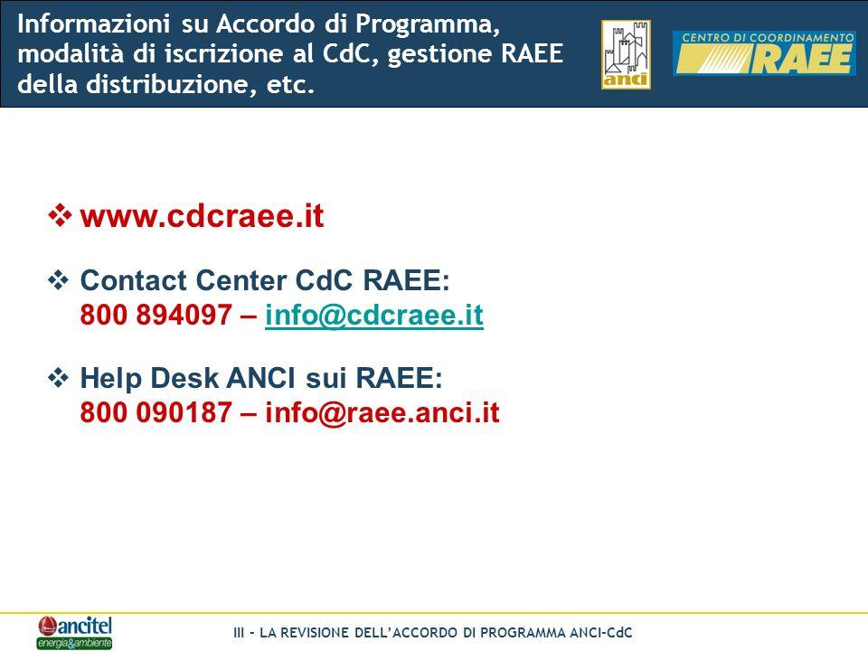 III – LA REVISIONE DELLACCORDO DI PROGRAMMA ANCI-CdC www.cdcraee.it Contact Center CdC RAEE: 800 894097 – info@cdcraee.itinfo@cdcraee.it Help Desk ANCI sui RAEE: 800 090187 – info@raee.anci.it Informazioni su Accordo di Programma, modalità di iscrizione al CdC, gestione RAEE della distribuzione, etc.