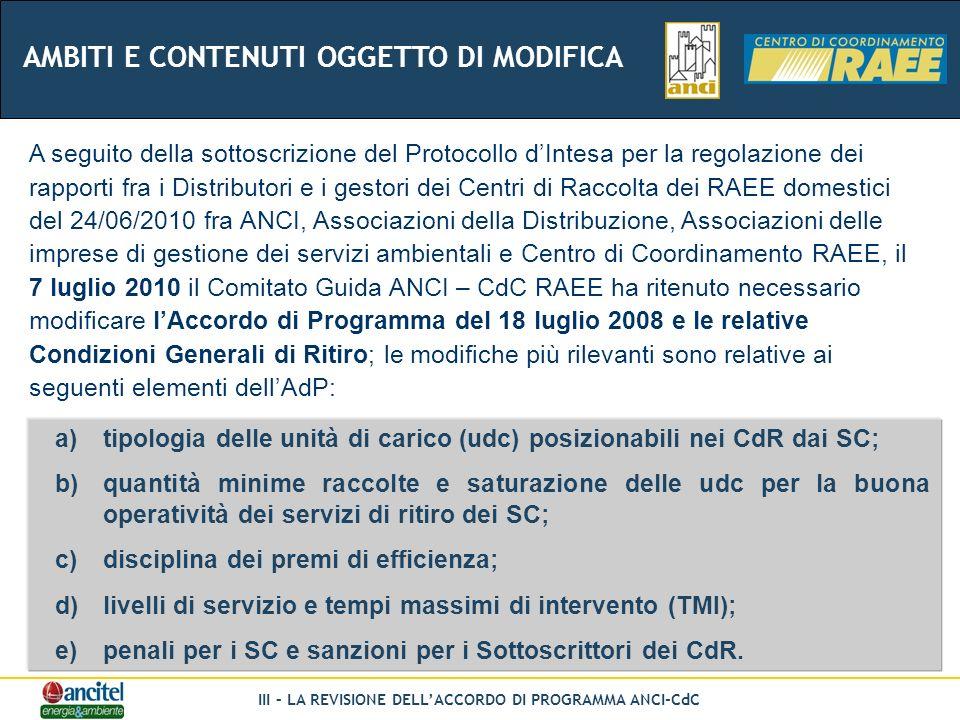 III – LA REVISIONE DELLACCORDO DI PROGRAMMA ANCI-CdC A seguito della sottoscrizione del Protocollo dIntesa per la regolazione dei rapporti fra i Distributori e i gestori dei Centri di Raccolta dei RAEE domestici del 24/06/2010 fra ANCI, Associazioni della Distribuzione, Associazioni delle imprese di gestione dei servizi ambientali e Centro di Coordinamento RAEE, il 7 luglio 2010 il Comitato Guida ANCI – CdC RAEE ha ritenuto necessario modificare lAccordo di Programma del 18 luglio 2008 e le relative Condizioni Generali di Ritiro; le modifiche più rilevanti sono relative ai seguenti elementi dellAdP: a)tipologia delle unità di carico (udc) posizionabili nei CdR dai SC; b)quantità minime raccolte e saturazione delle udc per la buona operatività dei servizi di ritiro dei SC; c)disciplina dei premi di efficienza; d)livelli di servizio e tempi massimi di intervento (TMI); e)penali per i SC e sanzioni per i Sottoscrittori dei CdR.