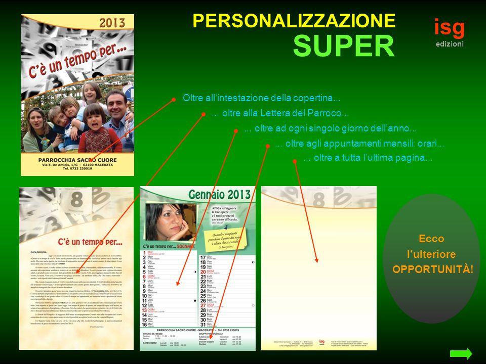 isg edizioni PERSONALIZZAZIONE Oltre allintestazione della copertina......