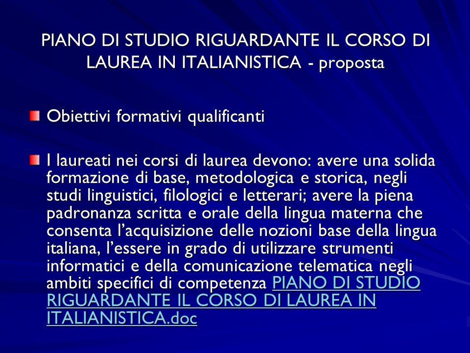 PIANO DI STUDIO RIGUARDANTE IL CORSO DI LAUREA IN ITALIANISTICA - proposta Obiettivi formativi qualificanti I laureati nei corsi di laurea devono: ave