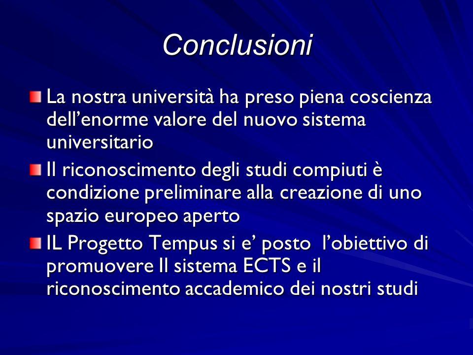Conclusioni La nostra università ha preso piena coscienza dellenorme valore del nuovo sistema universitario Il riconoscimento degli studi compiuti è c