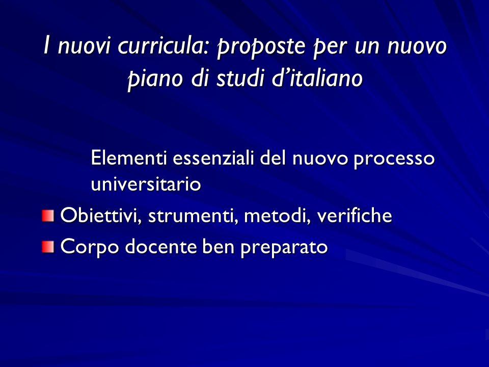 I nuovi curricula: proposte per un nuovo piano di studi ditaliano Elementi essenziali del nuovo processo universitario Obiettivi, strumenti, metodi, verifiche Corpo docente ben preparato