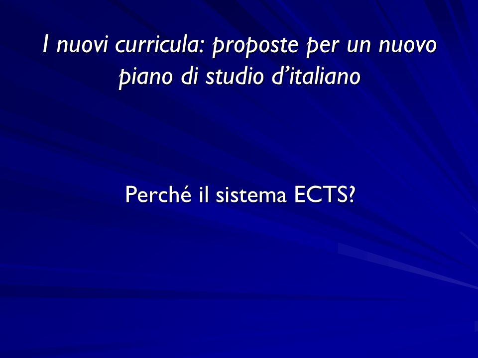 I nuovi curricula: proposte per un nuovo piano di studio ditaliano Perché il sistema ECTS?