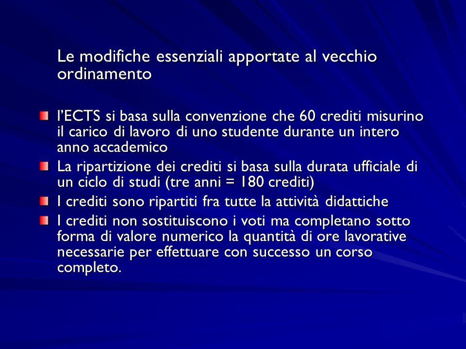 Le modifiche essenziali apportate al vecchio ordinamento lECTS si basa sulla convenzione che 60 crediti misurino il carico di lavoro di uno studente d