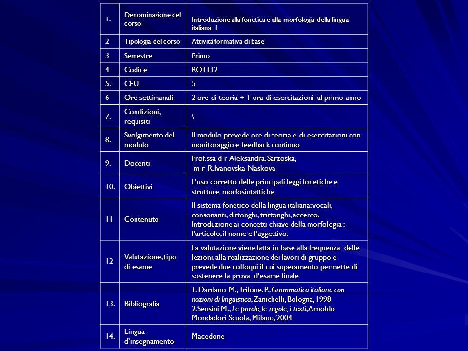 1. Denominazione del corso Introduzione alla fonetica e alla morfologia della lingua italiana I 2 Tipologia del corso Attività formativa di base 3Seme