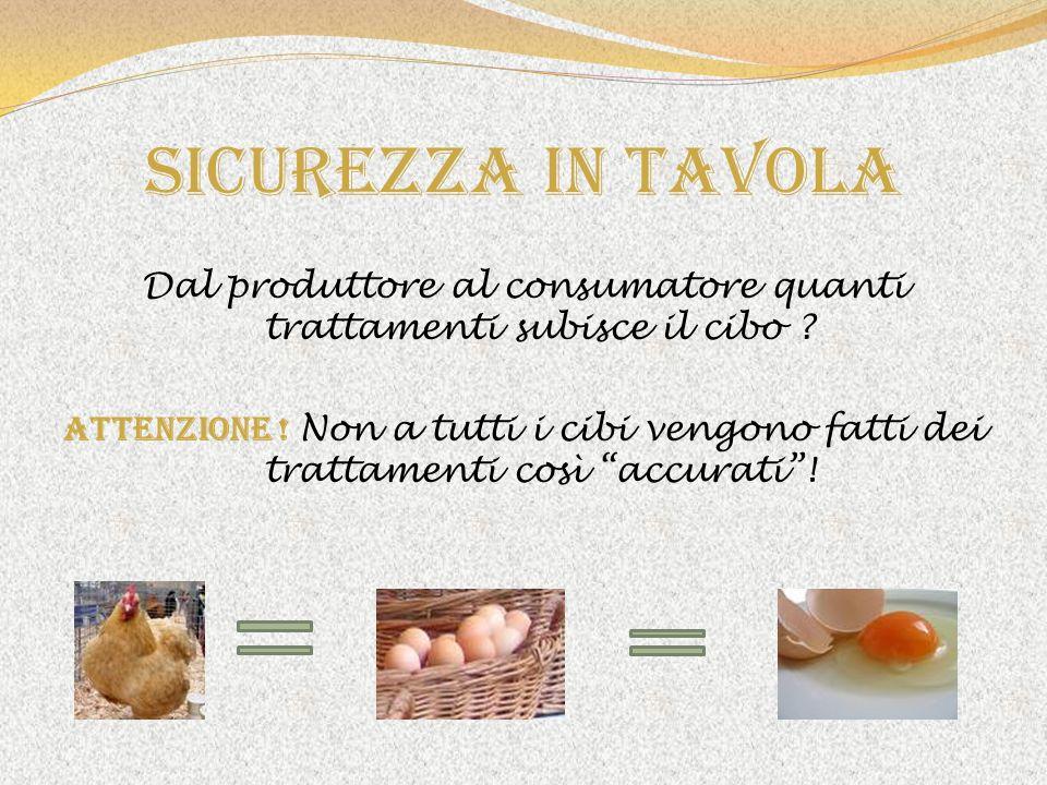 Sicurezza in tavola Dal produttore al consumatore quanti trattamenti subisce il cibo ? ATTENZIONE ! Non a tutti i cibi vengono fatti dei trattamenti c