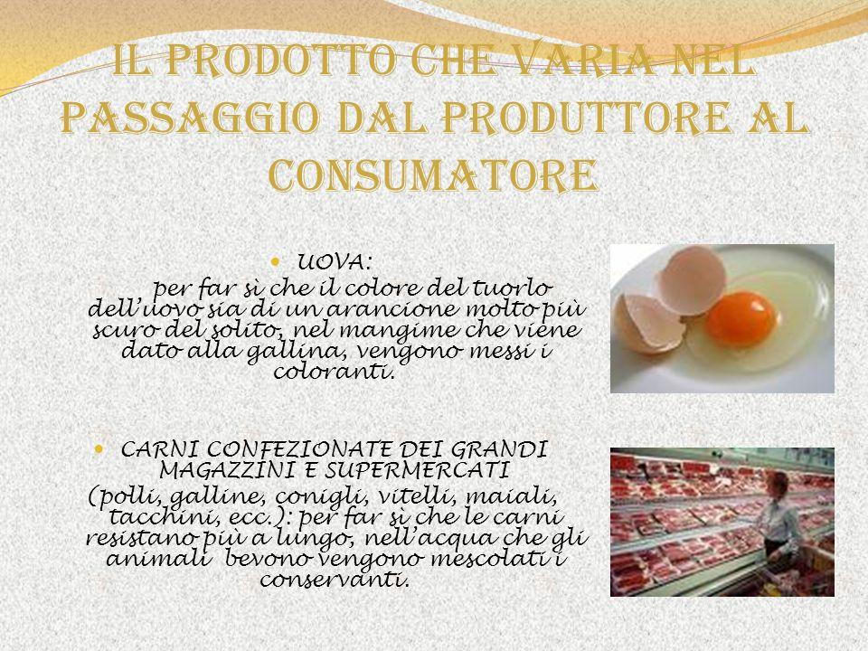 Il prodotto che varia nel passaggio dal produttore al consumatore UOVA: per far sì che il colore del tuorlo delluovo sia di un arancione molto più scu