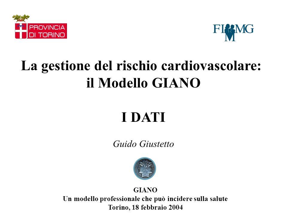 La gestione del rischio cardiovascolare: il Modello GIANO I DATI Guido Giustetto GIANO Un modello professionale che può incidere sulla salute Torino, 18 febbraio 2004