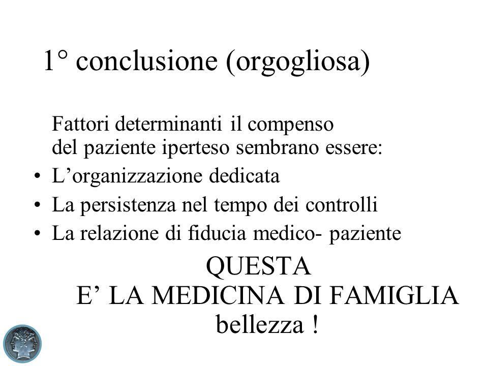 1° conclusione (orgogliosa) Fattori determinanti il compenso del paziente iperteso sembrano essere: Lorganizzazione dedicata La persistenza nel tempo