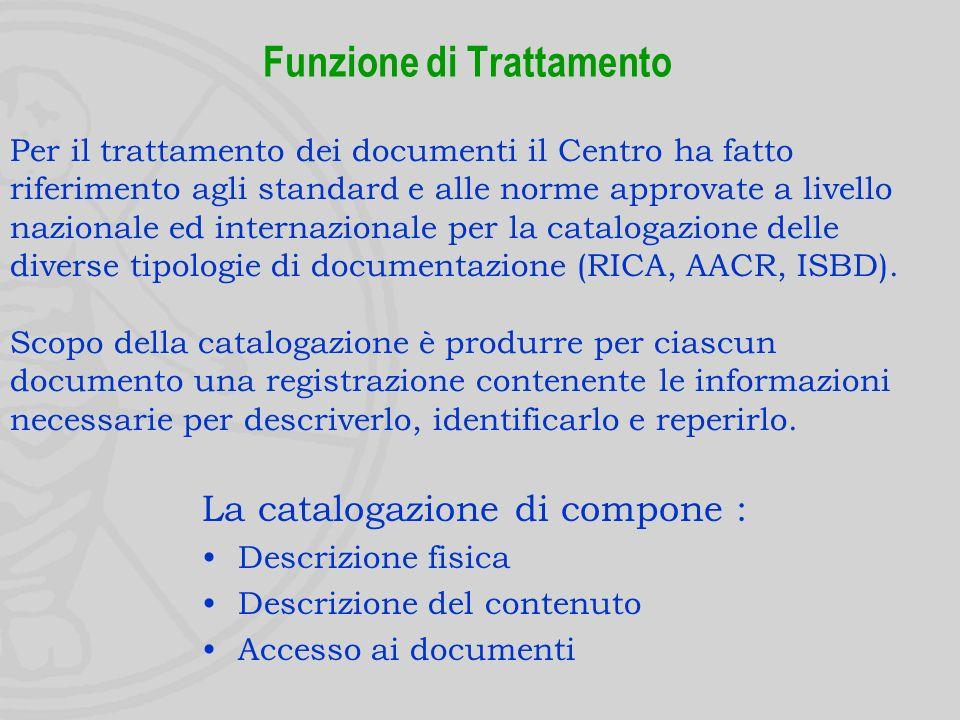 Funzione di Reperimento Individuazione e consultazione delle fonti La documentazione viene reperita consultando fonti di tipo cartaceo, informatico (es.