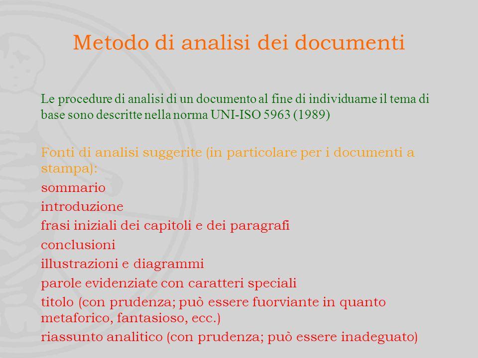 Descrizione del contenuto È il processo di identificazione del contenuto concettuale del documento.