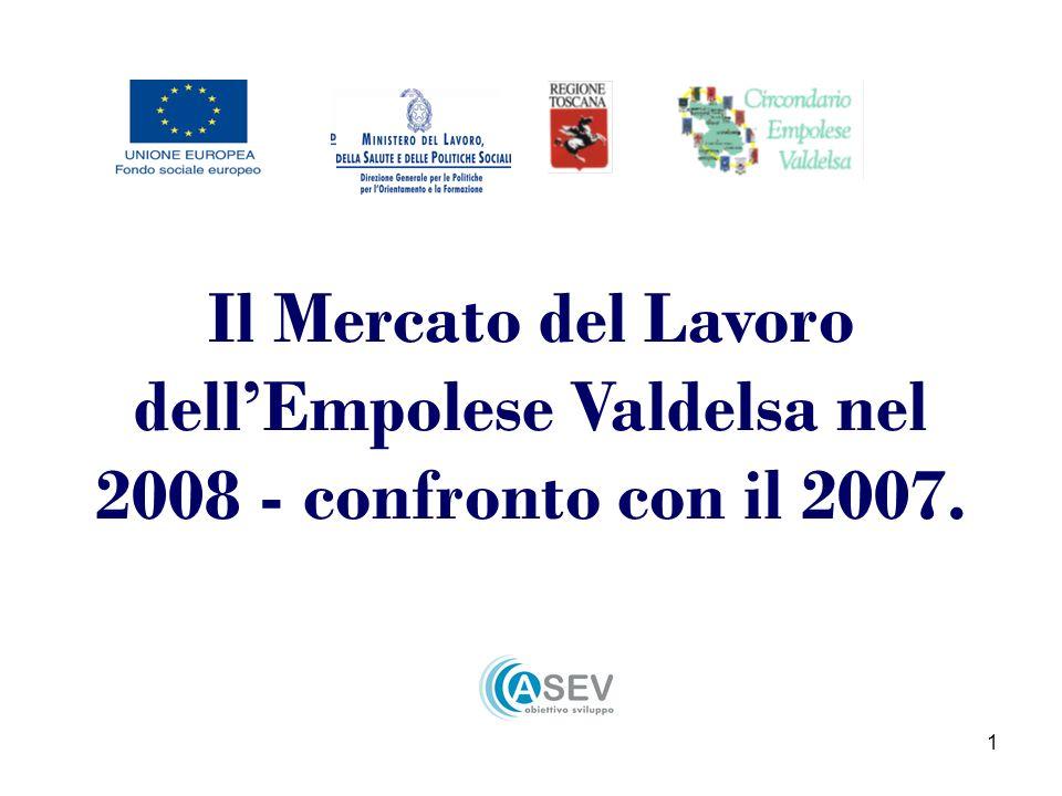 1 Il Mercato del Lavoro dellEmpolese Valdelsa nel 2008 - confronto con il 2007.