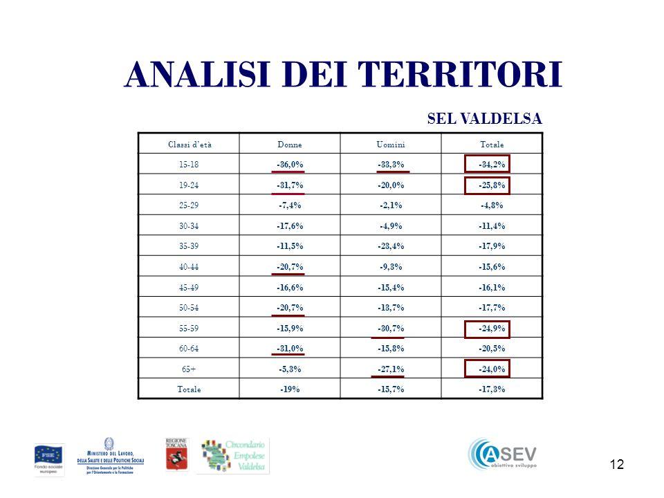12 Classi detàDonneUominiTotale 15-18-36,0%-33,3%-34,2% 19-24-31,7%-20,0%-25,8% 25-29-7,4%-2,1%-4,8% 30-34-17,6%-4,9%-11,4% 35-39-11,5%-23,4%-17,9% 40-44-20,7%-9,3%-15,6% 45-49-16,6%-15,4%-16,1% 50-54-20,7%-13,7%-17,7% 55-59-15,9%-30,7%-24,9% 60-64-31,0%-15,8%-20,5% 65+-5,3%-27,1%-24,0% Totale-19%-15,7%-17,3% SEL VALDELSA ANALISI DEI TERRITORI