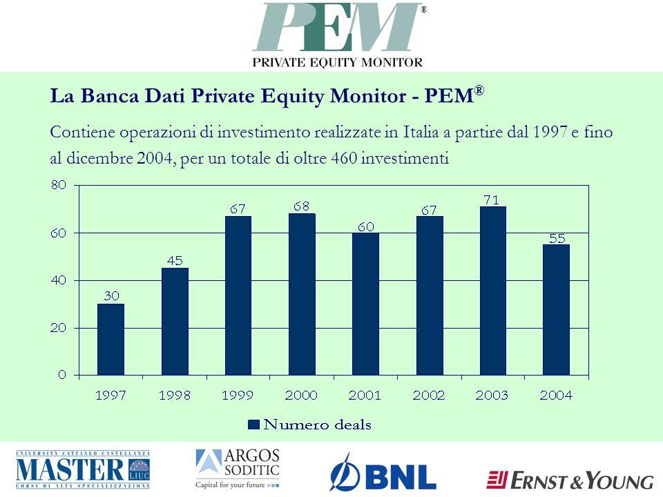 ® La Banca Dati Private Equity Monitor - PEM ® Contiene operazioni di investimento realizzate in Italia a partire dal 1997 e fino al dicembre 2004, per un totale di oltre 460 investimenti