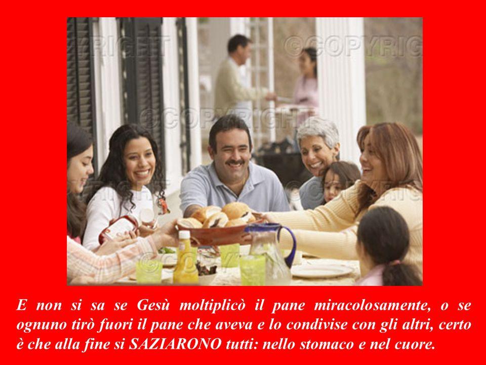 Disse allora alla gente di sedersi ordinatamente sullerba: poi prese il pane, rese grazie a Dio, lo spezzò e lo diede ai suoi discepoli per distribuirlo.