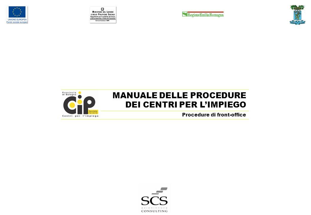 MANUALE DELLE PROCEDURE DEI CENTRI PER LIMPIEGO Procedure di front-office Pag.