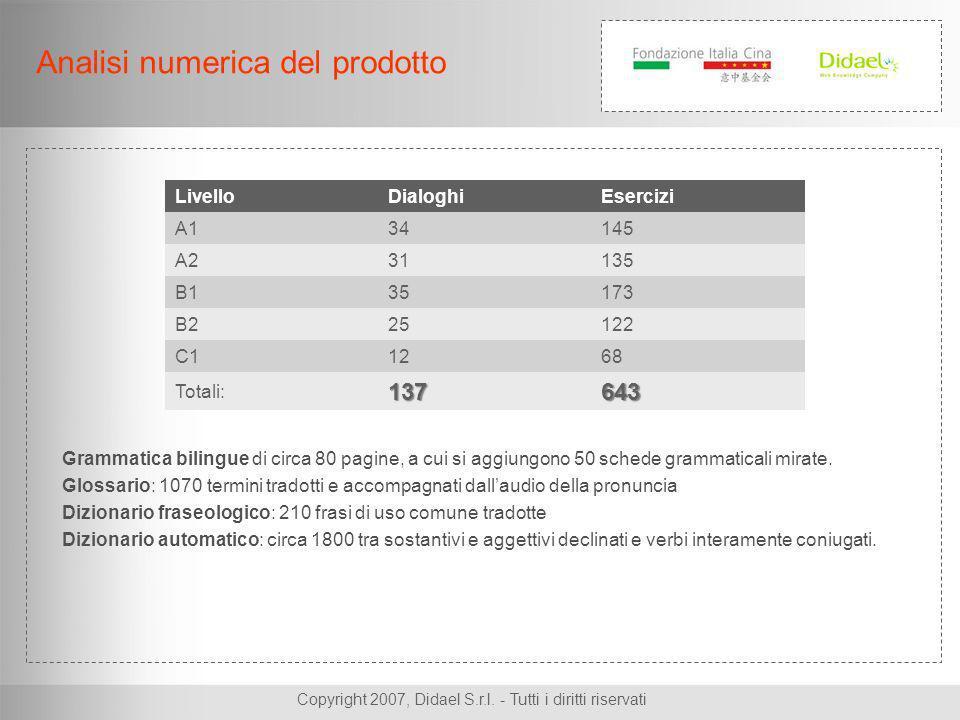 Analisi numerica del prodotto Grammatica bilingue di circa 80 pagine, a cui si aggiungono 50 schede grammaticali mirate.