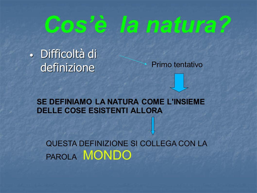 Difficoltà di definizione Difficoltà di definizione Primo tentativo SE DEFINIAMO LA NATURA COME L INSIEME DELLE COSE ESISTENTI ALLORA QUESTA DEFINIZIONE SI COLLEGA CON LA PAROLA MONDO Cosè la natura