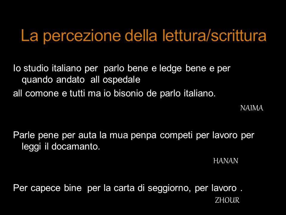 Io studio italiano per parlo bene e ledge bene e per quando andato all ospedale all comone e tutti ma io bisonio de parlo italiano. NAIMA Parle pene p