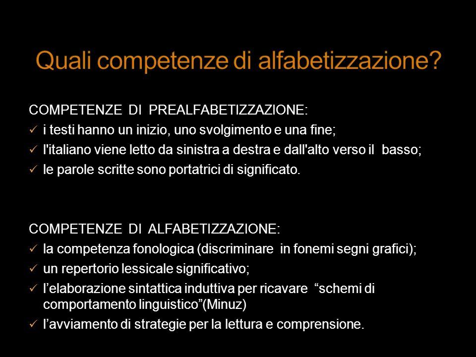 COMPETENZE DI PREALFABETIZZAZIONE: i testi hanno un inizio, uno svolgimento e una fine; l'italiano viene letto da sinistra a destra e dall'alto verso