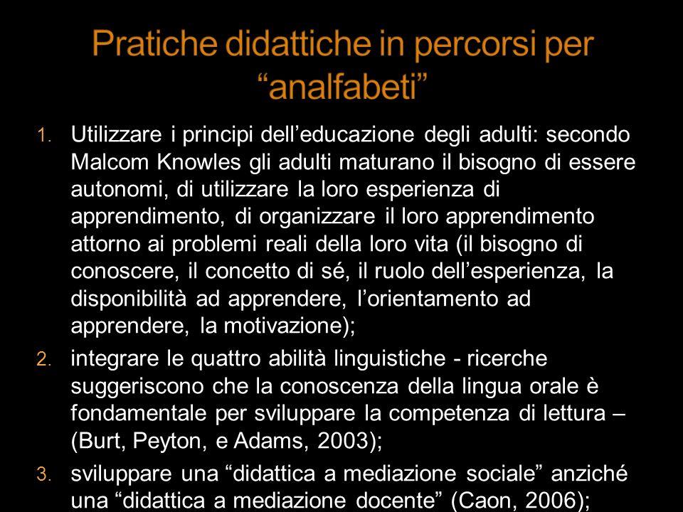 Utilizzare i principi delleducazione degli adulti: secondo Malcom Knowles gli adulti maturano il bisogno di essere autonomi, di utilizzare la loro esp