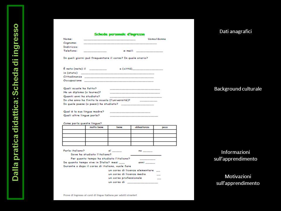 Dalla pratica didattica: Scheda di ingresso Dati anagrafici Background culturale Informazioni sullapprendimento Motivazioni sullapprendimento