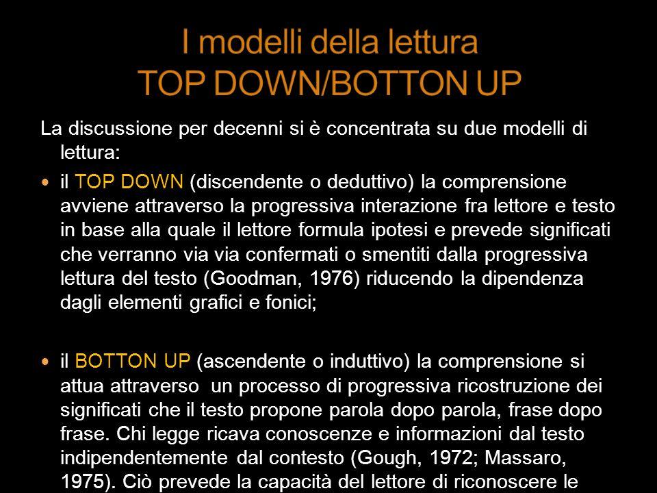 La discussione per decenni si è concentrata su due modelli di lettura: il TOP DOWN (discendente o deduttivo) la comprensione avviene attraverso la pro