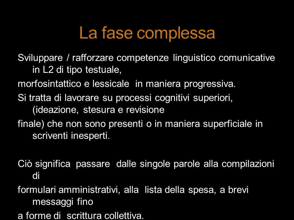 Sviluppare / rafforzare competenze linguistico comunicative in L2 di tipo testuale, morfosintattico e lessicale in maniera progressiva. Si tratta di l