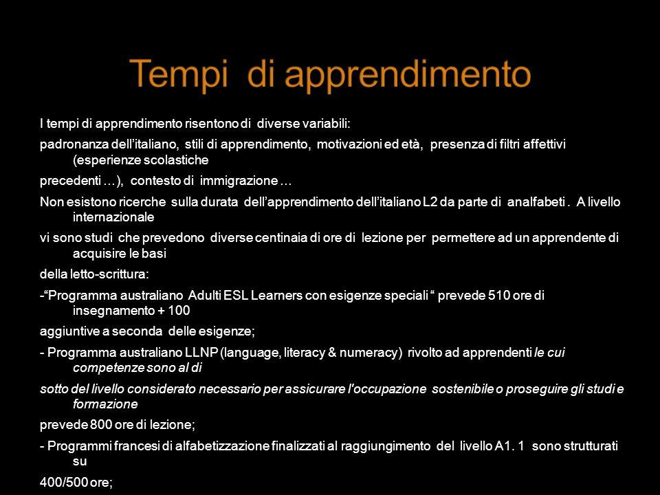 I tempi di apprendimento risentono di diverse variabili: padronanza dellitaliano, stili di apprendimento, motivazioni ed età, presenza di filtri affet