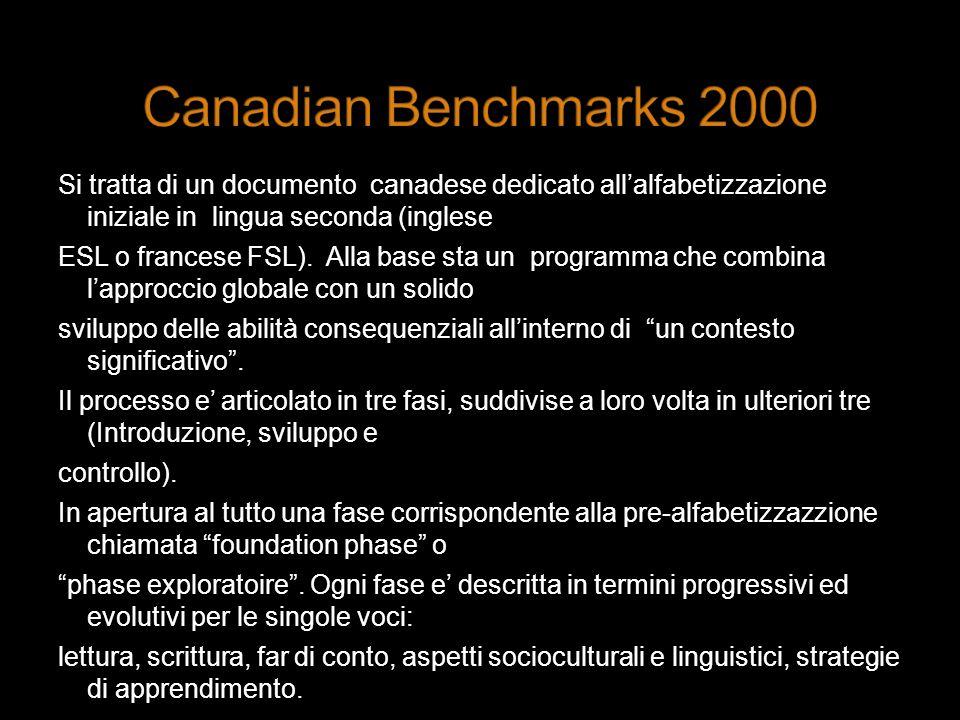 Si tratta di un documento canadese dedicato allalfabetizzazione iniziale in lingua seconda (inglese ESL o francese FSL). Alla base sta un programma ch