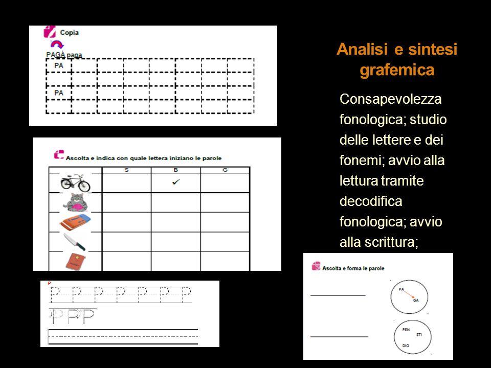 Consapevolezza fonologica; studio delle lettere e dei fonemi; avvio alla lettura tramite decodifica fonologica; avvio alla scrittura; sensibilizzazion