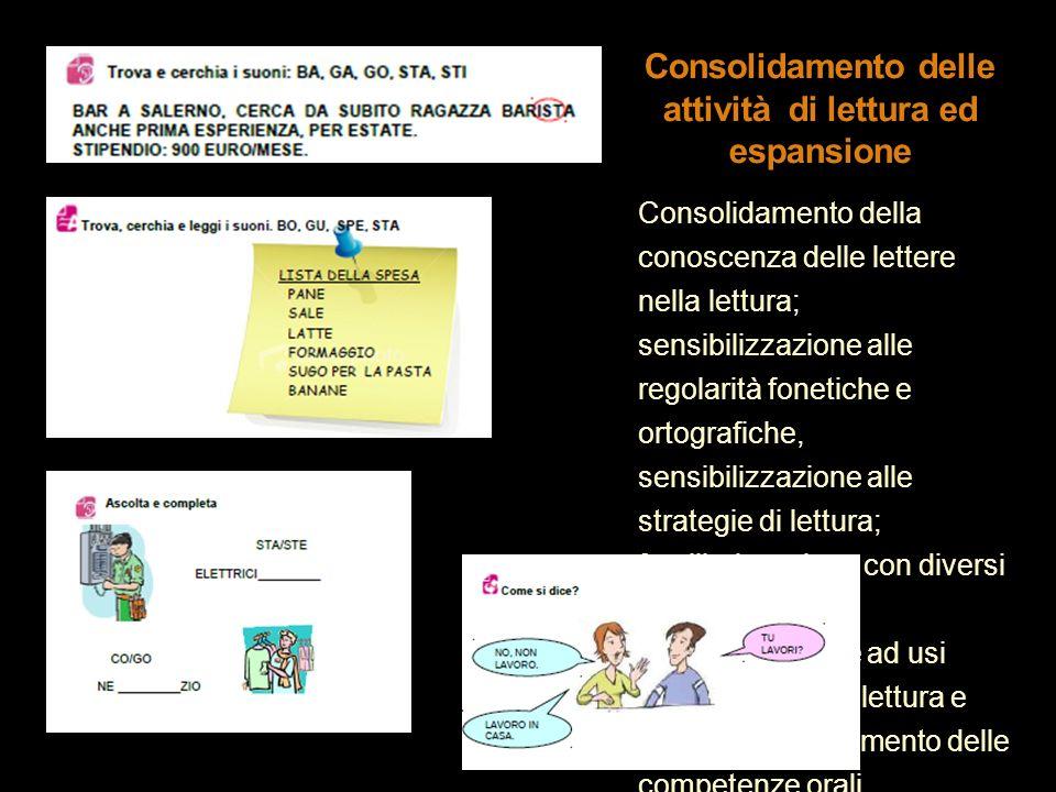 Consolidamento della conoscenza delle lettere nella lettura; sensibilizzazione alle regolarità fonetiche e ortografiche, sensibilizzazione alle strate