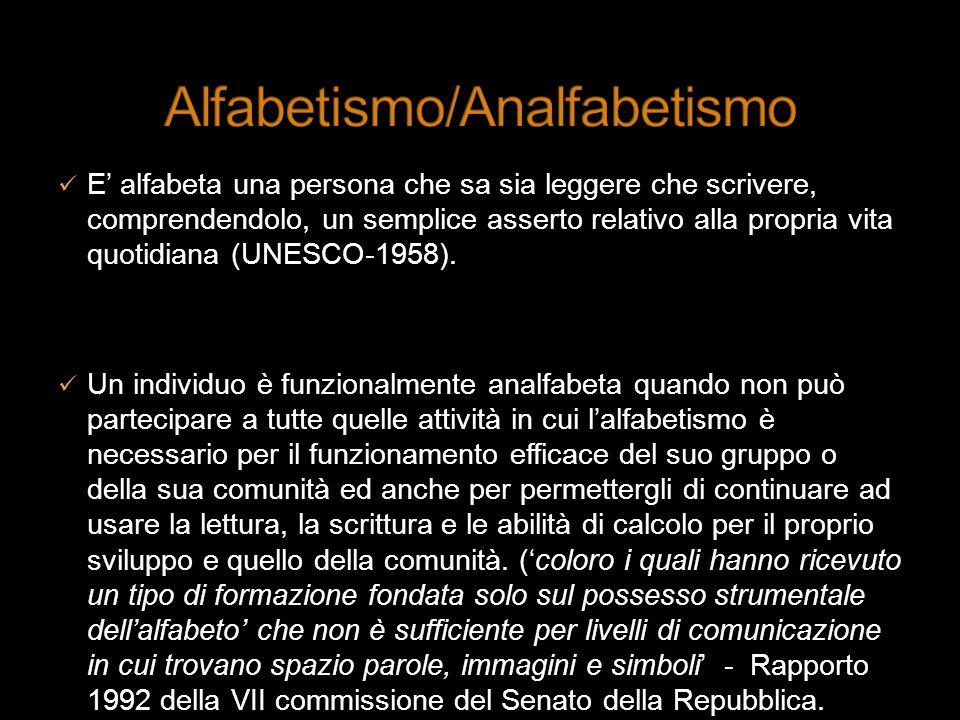 E alfabeta una persona che sa sia leggere che scrivere, comprendendolo, un semplice asserto relativo alla propria vita quotidiana (UNESCO-1958). Un in