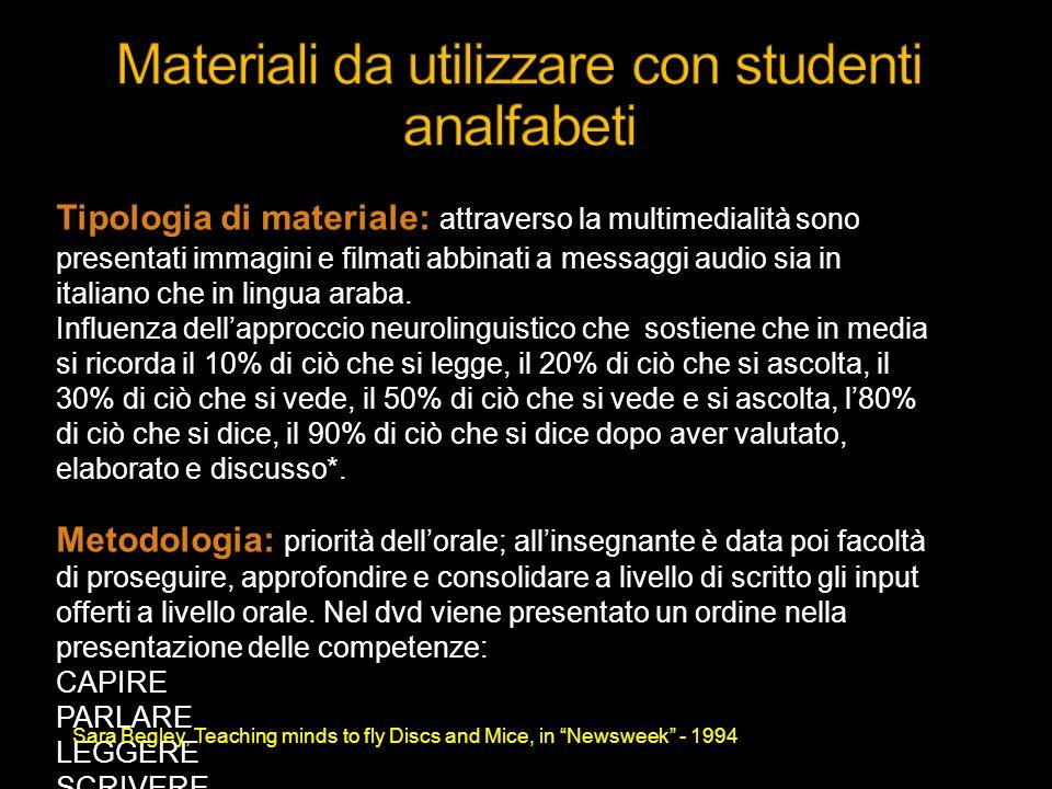 Tipologia di materiale: attraverso la multimedialità sono presentati immagini e filmati abbinati a messaggi audio sia in italiano che in lingua araba.