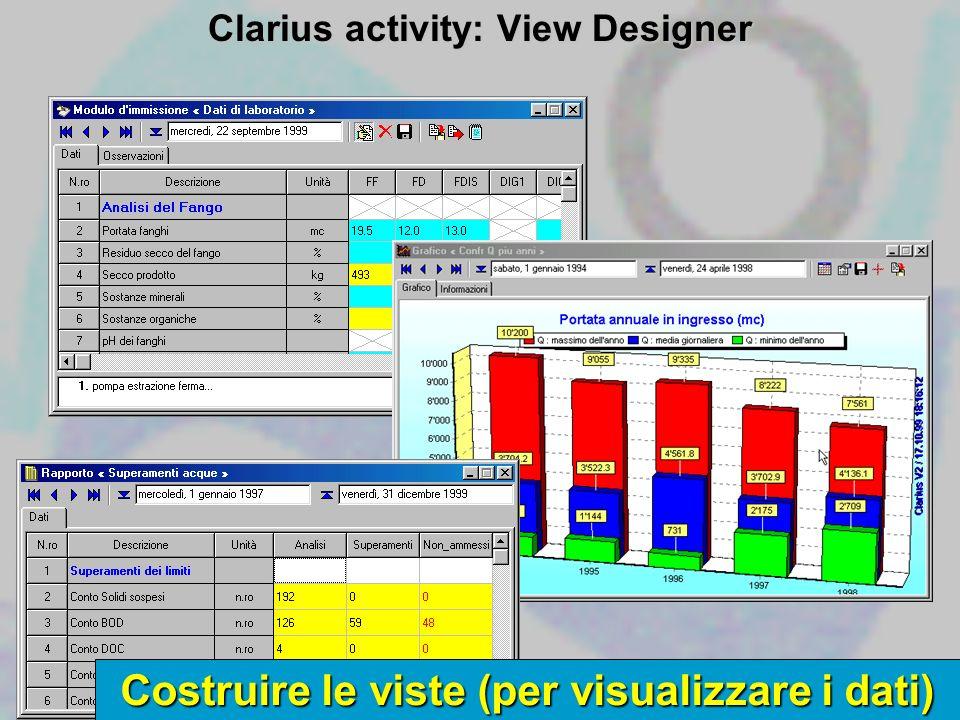 Costruire le viste (per visualizzare i dati) Clarius activity: View Designer