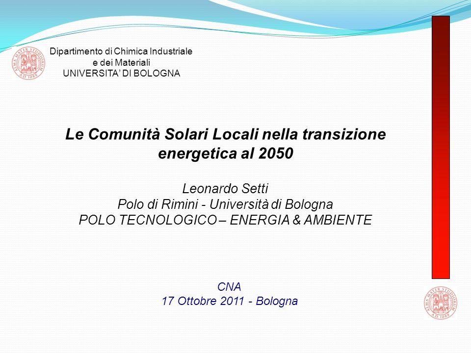 Le Comunità Solari Locali nella transizione energetica al 2050 Leonardo Setti Polo di Rimini - Università di Bologna POLO TECNOLOGICO – ENERGIA & AMBI