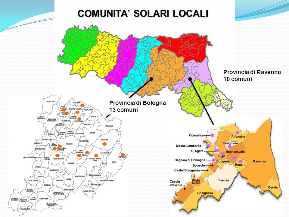 COMUNITA SOLARI LOCALI Provincia di Ravenna 10 comuni Provincia di Bologna 13 comuni