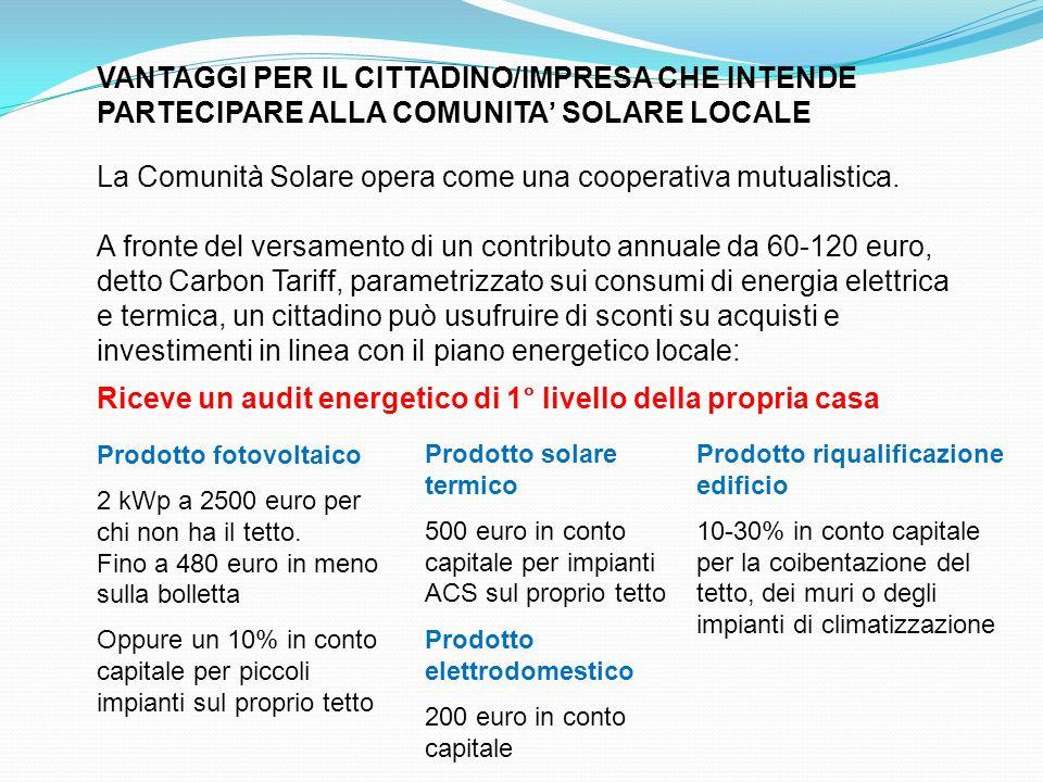 VANTAGGI PER IL CITTADINO/IMPRESA CHE INTENDE PARTECIPARE ALLA COMUNITA SOLARE LOCALE La Comunità Solare opera come una cooperativa mutualistica. A fr
