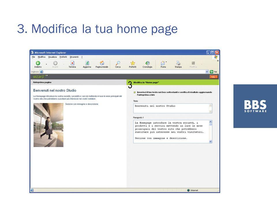 3. Modifica la tua home page