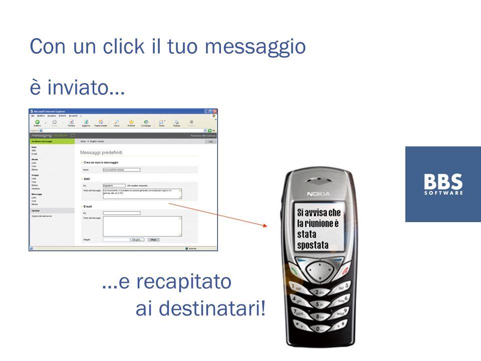 Con un click il tuo messaggio è inviato… …e recapitato ai destinatari!