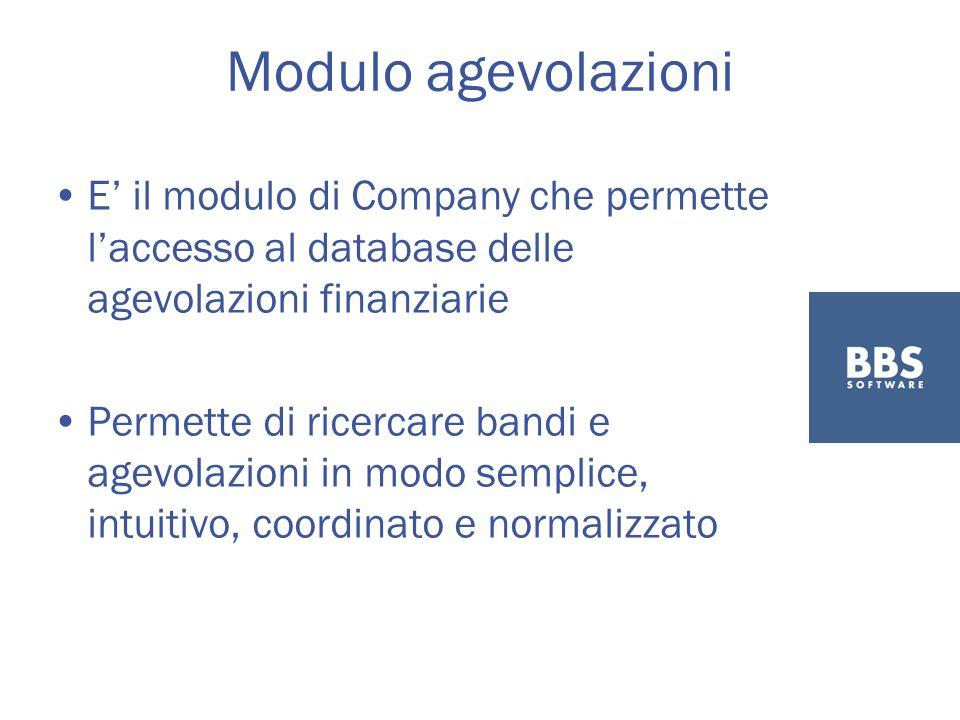 Modulo agevolazioni E il modulo di Company che permette laccesso al database delle agevolazioni finanziarie Permette di ricercare bandi e agevolazioni in modo semplice, intuitivo, coordinato e normalizzato