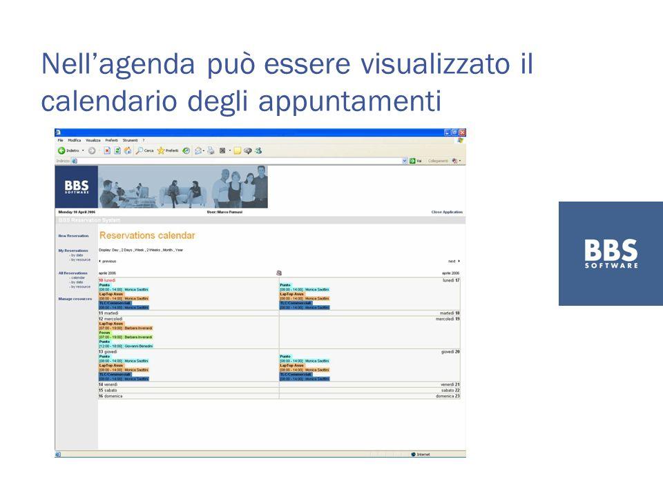 Nellagenda può essere visualizzato il calendario degli appuntamenti