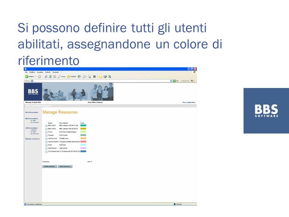 Si possono definire tutti gli utenti abilitati, assegnandone un colore di riferimento