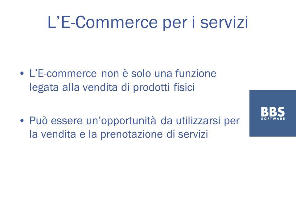 LE-Commerce per i servizi LE-commerce non è solo una funzione legata alla vendita di prodotti fisici Può essere unopportunità da utilizzarsi per la vendita e la prenotazione di servizi