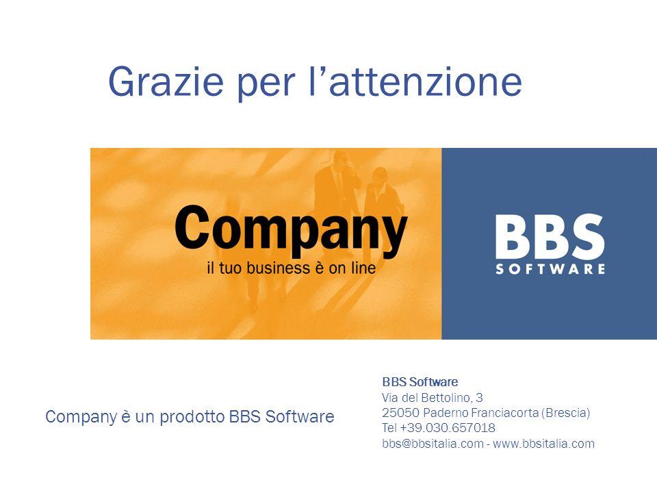 Company è un prodotto BBS Software BBS Software Via del Bettolino, 3 25050 Paderno Franciacorta (Brescia) Tel +39.030.657018 bbs@bbsitalia.com - www.bbsitalia.com Grazie per lattenzione