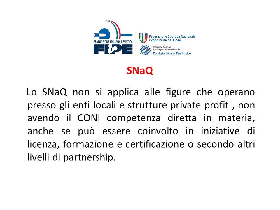 SNaQ Lo SNaQ non si applica alle figure che operano presso gli enti locali e strutture private profit, non avendo il CONI competenza diretta in materi