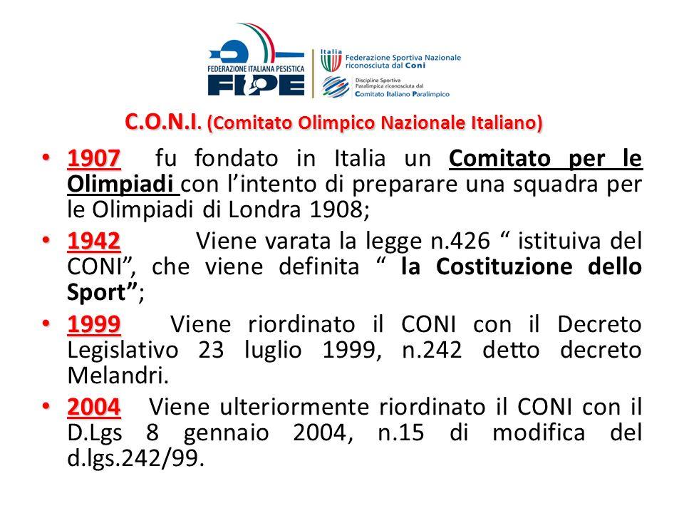 C.O.N.I. (Comitato Olimpico Nazionale Italiano) C.O.N.I. (Comitato Olimpico Nazionale Italiano) 1907 1907 fu fondato in Italia un Comitato per le Olim