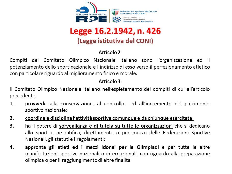 Legge 16.2.1942, n. 426 (Legge istitutiva del CONI) Articolo 2 Compiti del Comitato Olimpico Nazionale Italiano sono lorganizzazione ed il potenziamen