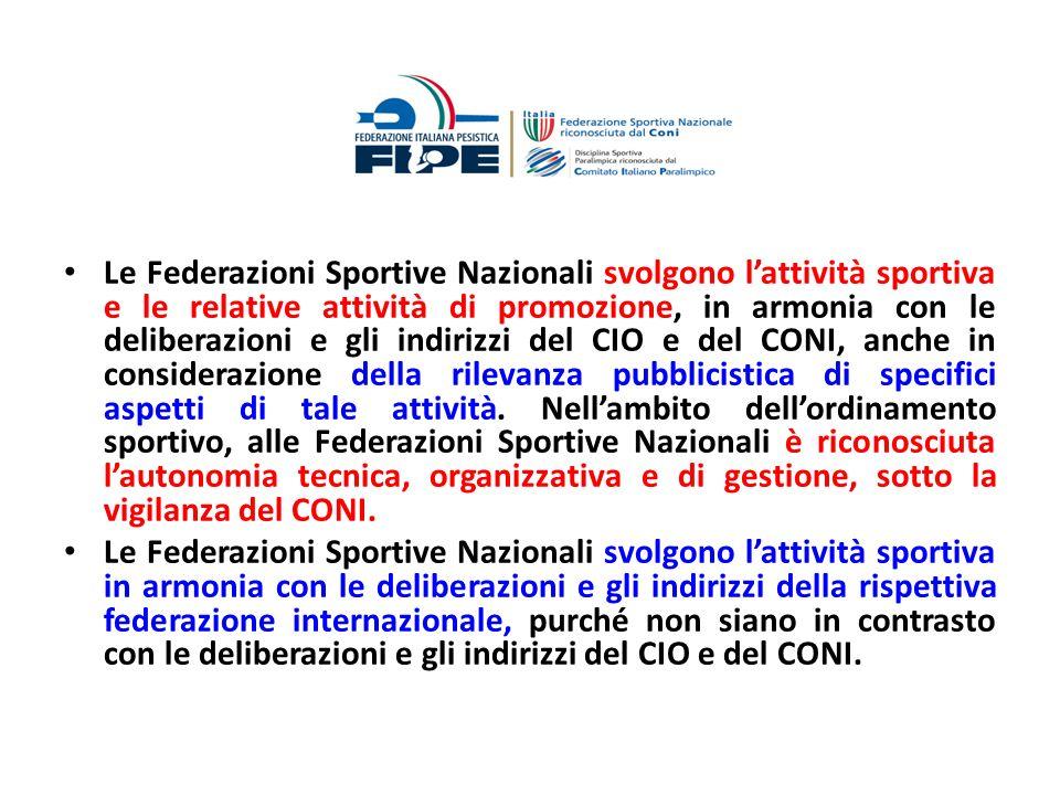 Le Federazioni Sportive Nazionali svolgono lattività sportiva e le relative attività di promozione, in armonia con le deliberazioni e gli indirizzi de