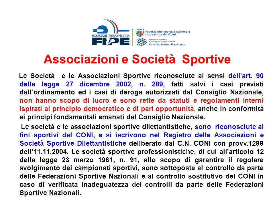 Le Società e le Associazioni Sportive riconosciute ai sensi dellart. 90 della legge 27 dicembre 2002, n. 289, fatti salvi i casi previsti dallordiname
